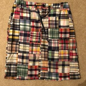 J. Crew. Madras plaid skirt.